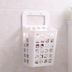吸盘挂式塑料脏衣篮收纳篮脏衣篓镂空沥水篮 米白色