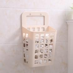 吸盘挂式塑料脏衣篮收纳篮脏衣篓镂空沥水篮 卡其色