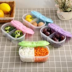 双格翻盖保鲜盒 零食收纳盒-粉色 150/箱