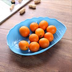 大号创意糖果色树叶果盘 水果盘糖果盘(蓝色)