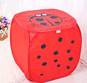 新款大号创意卡通四方脏衣篮-红色瓢虫
