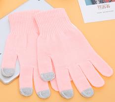 秋冬保暖触摸屏手套--粉色